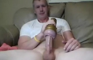 sexy chum copulates his fleshlight lean to ass with an increment of cums on cam