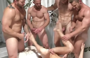 Gay orgy climax action not far from ache hunks