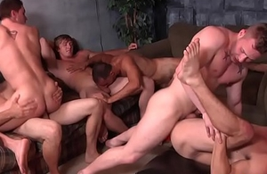 Beefy gay orgy clothes-horse gets covered in jism