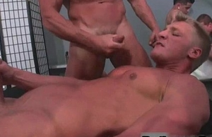 Well-pleased coitus orgy at hand public bathroom free gay porn