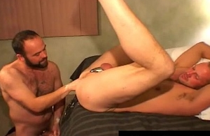 Nasty gay dude inserts huge vibrator gay porn