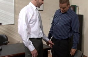 Inked homosexuals screwing in rub-down the office