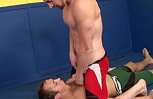 Athletic gay athlete sucking bigcock